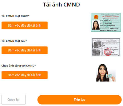 đăng hình cmnd để hoàn tất khoản vay online tại MoneyCat