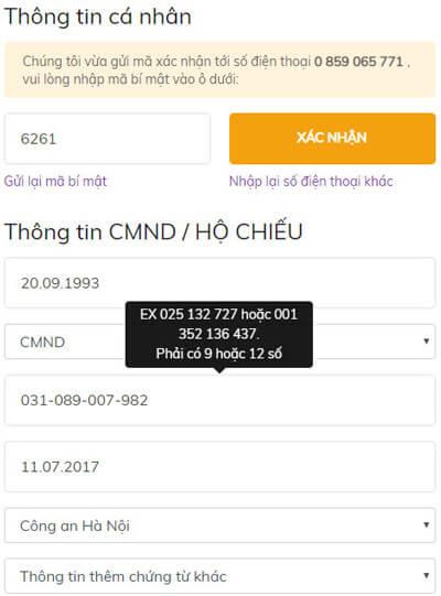 xác thực số điện thoại để kích hoạt tài khoản robocash