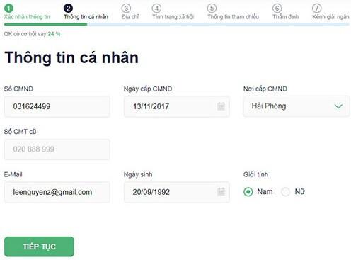 Điền thông tin để vay tiền online tại senmo