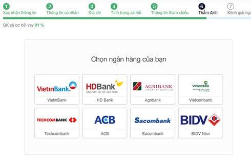 nhập thông tin ngân hàng để senmo thẩm định