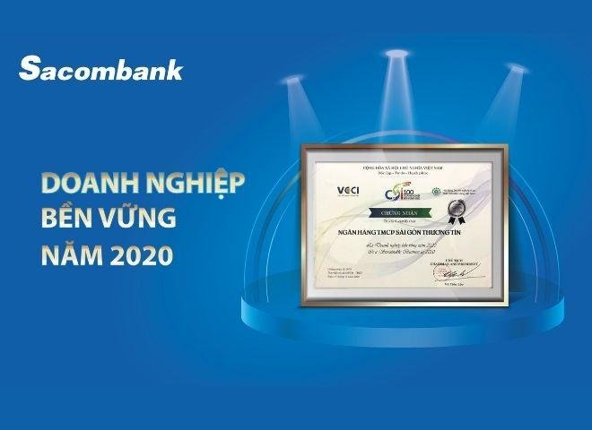 Năm 2020 ngân hàng Sacombank được vinh danh doanh nghiệp bền vững
